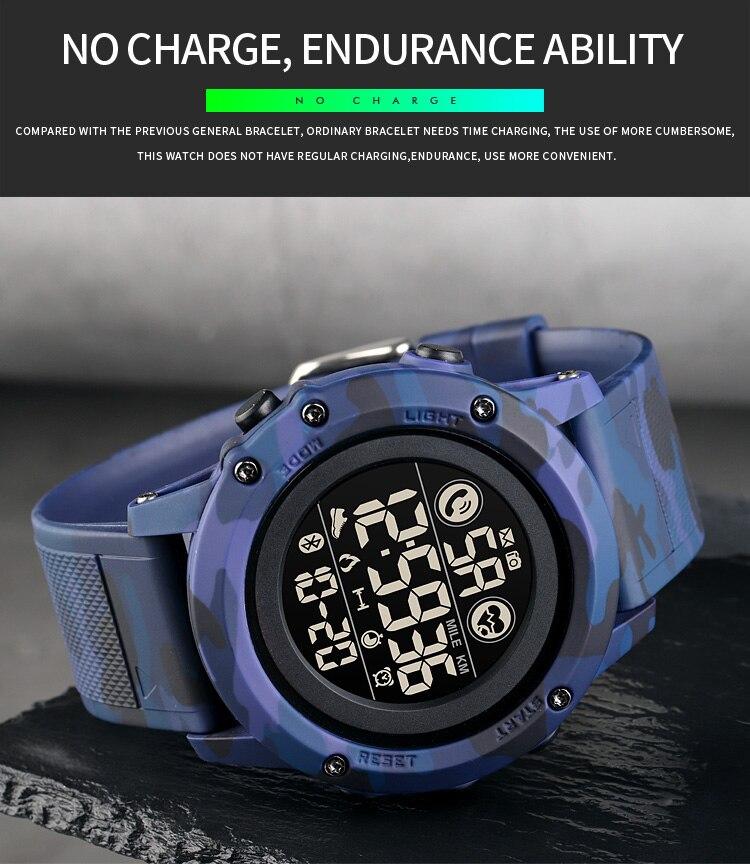 relógio masculino militar bluetooth pedômetro movimento relógio de pulso relogio masculino