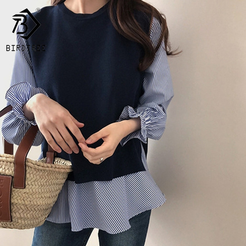 2020 Spring Women Ruffled Long Sleeve Shirt+O Neck Pullover Sleeveless Vest Office Casual Knitted Vest Two Piece Set T9D924M