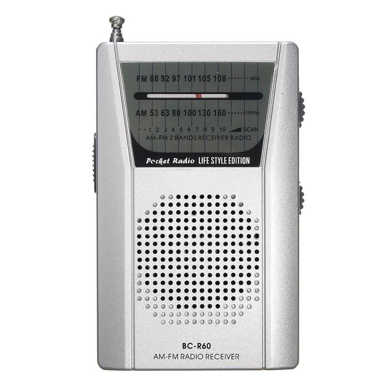 Mini Silver Portable LED AM/FM Telescopic Antenna Radio Speaker Low Power Consumption Radio Receiver
