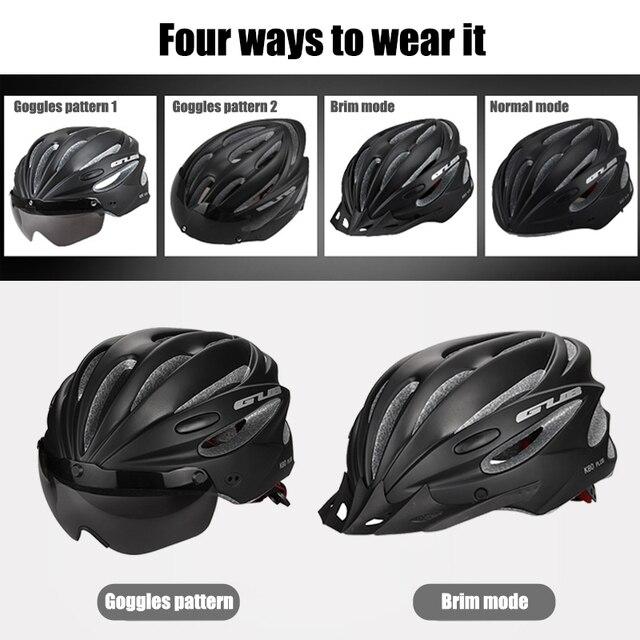 Gub k80 capacete de bicicleta com viseira óculos magnéticos mtb estrada bicicleta ciclismo capacete de segurança integralmente-moldado 58-62cm para homem feminino 2