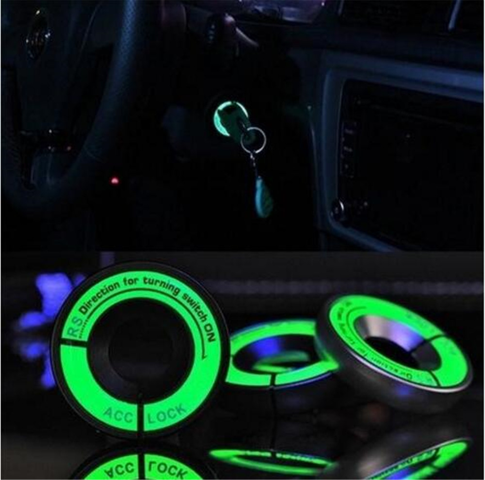 Luminous Styling Glow Key Ring Hole Sticker 3D Car Ignition Switch Cover Motorcycle Decal Circle Light Decoration Universl Fit