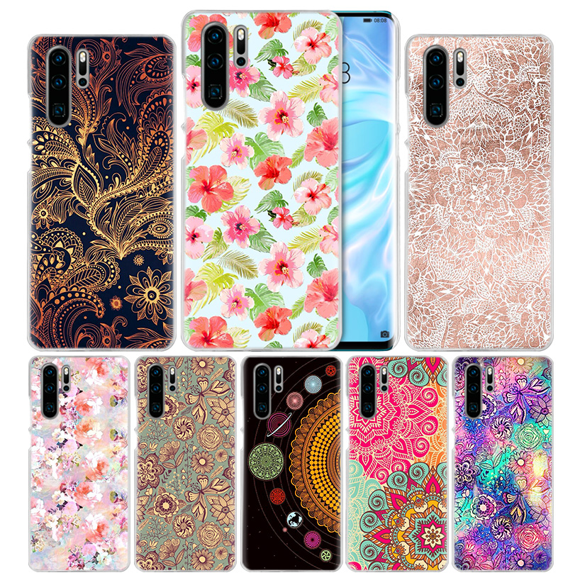 Floral Mandala Case for Huawei Mate 30 20 10 P20 P30 Lite Pro P Smart Y9 Prime 2019 Honor 8A 8X 10i PC Phone Cover Bags