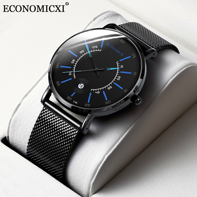 Mesh Mens Watches Relogio Masculino Fashion Business Minimalist Ultra Thin Stainless Steel Date Clock Band Analog Quartz Watch