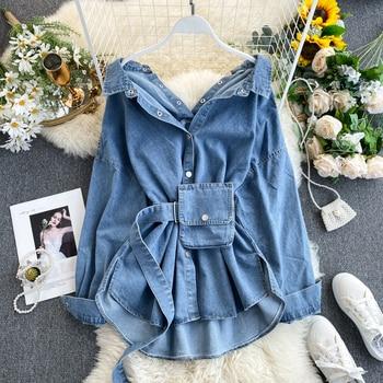 2020 Women Spring Denim Blouses Coat Turn Down Collar Sexy Button Design Womens Denim Shirt Style Coat Women Tops Blusas