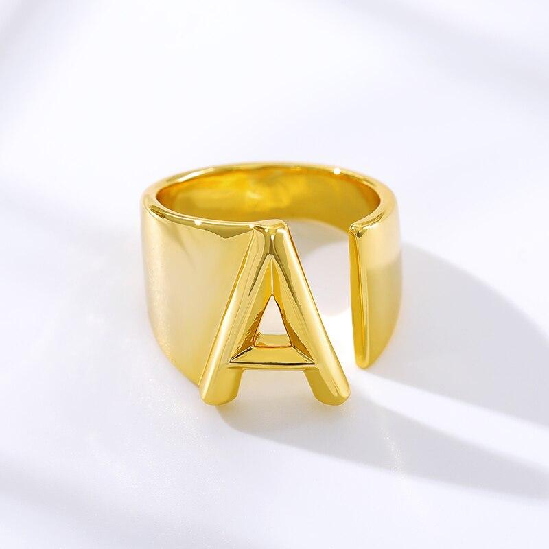 Купить первоначальный a z письмо кольцо для женщин алфавит кольца регулируемый