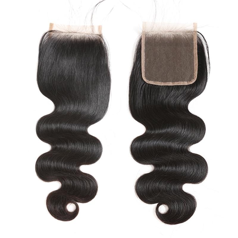 Ali Queen 4x4/5x5 fermeture de dentelle transparente pré plumée avec des cheveux de bébé 10 ~ 20 pouces brésilien vague de corps vierge fermeture de cheveux humains - 6