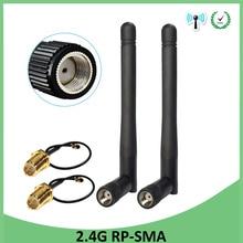 10Pcs 2.4Ghz Antenne Wifi RP SMA Mannelijke Connector 3dBi Wi fi 2.4G Antena + Ipx Naar RP SMA Jack mannelijke Verlengsnoer Pigtail Kabel