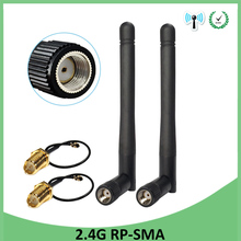 10pcs 2.4GHz antenna wifi RP-SMA Male Connector 3dBi Wi fi 2.4G Antena + IPX to RP-SMA Jack Male Extension Cord Pigtail Cable 10pcs rp sma male jack center solder semi rigid rg405 50 1 5 rf sma connector