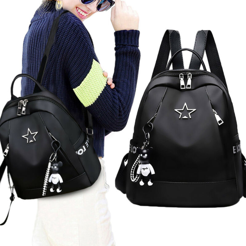 Fashion Women's  Small Backpack Travel Nylon  Shoulder Bag Black Gifts Travel Shoulder Bag Anti-thief Pendant