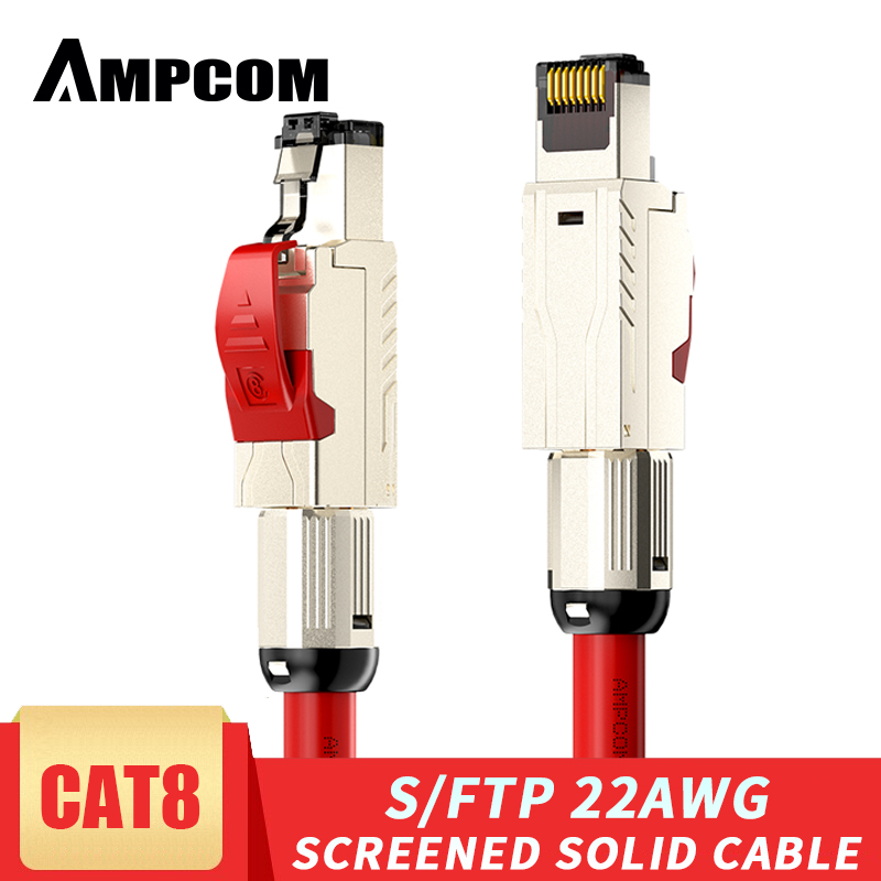 AMPCOM Cat8 Ethernet Patch Cable S FTP 22AWG Screened Solid Cable  2000Mhz  2Ghz  up to 40Gbps  Future 5th-Gen Ethernet LAN