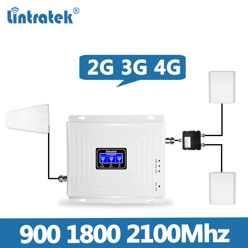 2 Antennas Lintratek Set Tri-Band Repeater 2G 3G 4G 900 1800 2100MHz Mobile Phone Signal Booster Amplifier Cellular Signal @7.5
