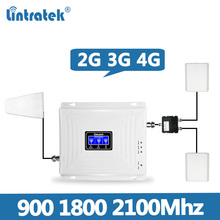 2 Antennas Lintratek Set Tri Band Repeater 2G 3G 4G 900 1800 2100MHz Mobile Phone Signal Booster Amplifier Cellular Signal @7.5