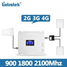 2 Antenne Lintratek Set Tri Band Ripetitore 2G 3G 4G 900 1800 2100 Mhz Del Telefono Mobile ripetitore Del Segnale Amplificatore di Segnale Cellulare @ 7.5