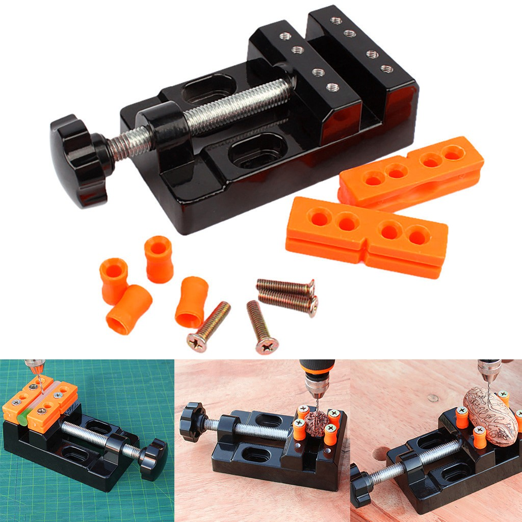 1 set Black Jaw Bench Clamp Mini Drill Press Vice Micro Clip Opening Parallel Table Flat Vise DIY Hand Tools 13.5x6.5x3.6cm