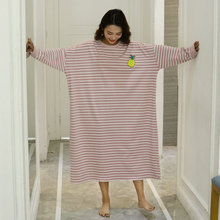 Plus Size 4XL Night Dress Women Oversize Nightgown Cartoon Print Sleepshirts Long-sleeves N