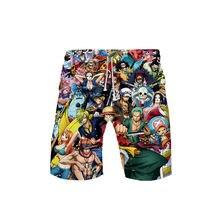Аниме один кусок 3d цветной принт шорты для отдыха Пляжные штаны