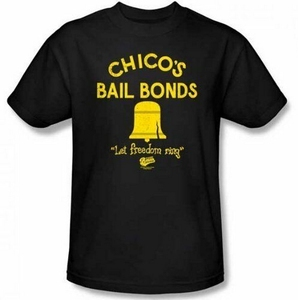 Mens Black Comedy Movie Bad News Bears ChicoS Bail Bonds Freedom Ring T-Shirt For Youth Middle-Age The Elder Tee Shirt(China)