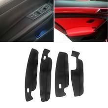 Soft Leather Door Panel Cover For VW Touran 2016 2017 2018 Car styling Door Panels Guards / Door Armrest Panel Skin Cover Trim