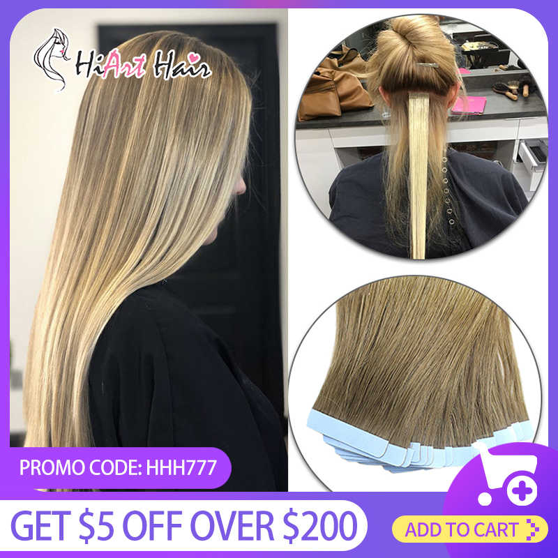 "Hiart 2.5 G/stk Tape In Human Hair Extensions 100% Menselijk Remy Kapsalon Balayage Double Drawn Plakband Extensions 18 ""-26"""