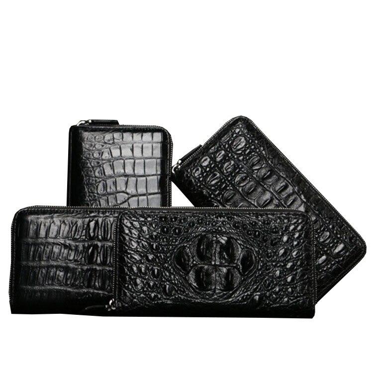 Men's luxurious Crocodile wallet with zipper High-quality leather fashion Mini delgada dinero bolsa hombre negro corto monedero