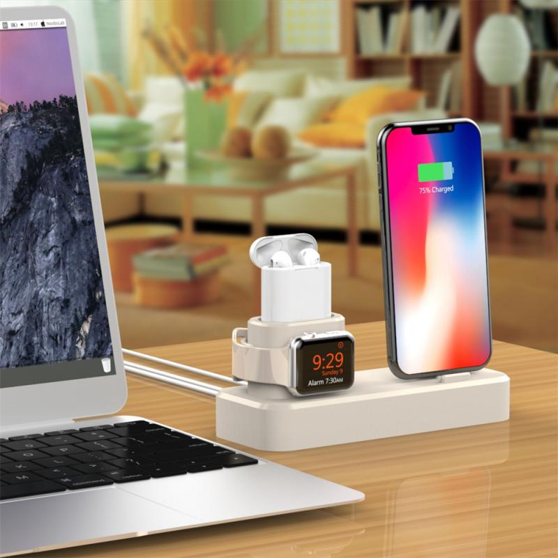 New 3-IN-1 Wireless Mobile Phone Stand Charging Dock for Apple Watch / iPhone / Air Pods Smart Mobile Phone Charging Stand