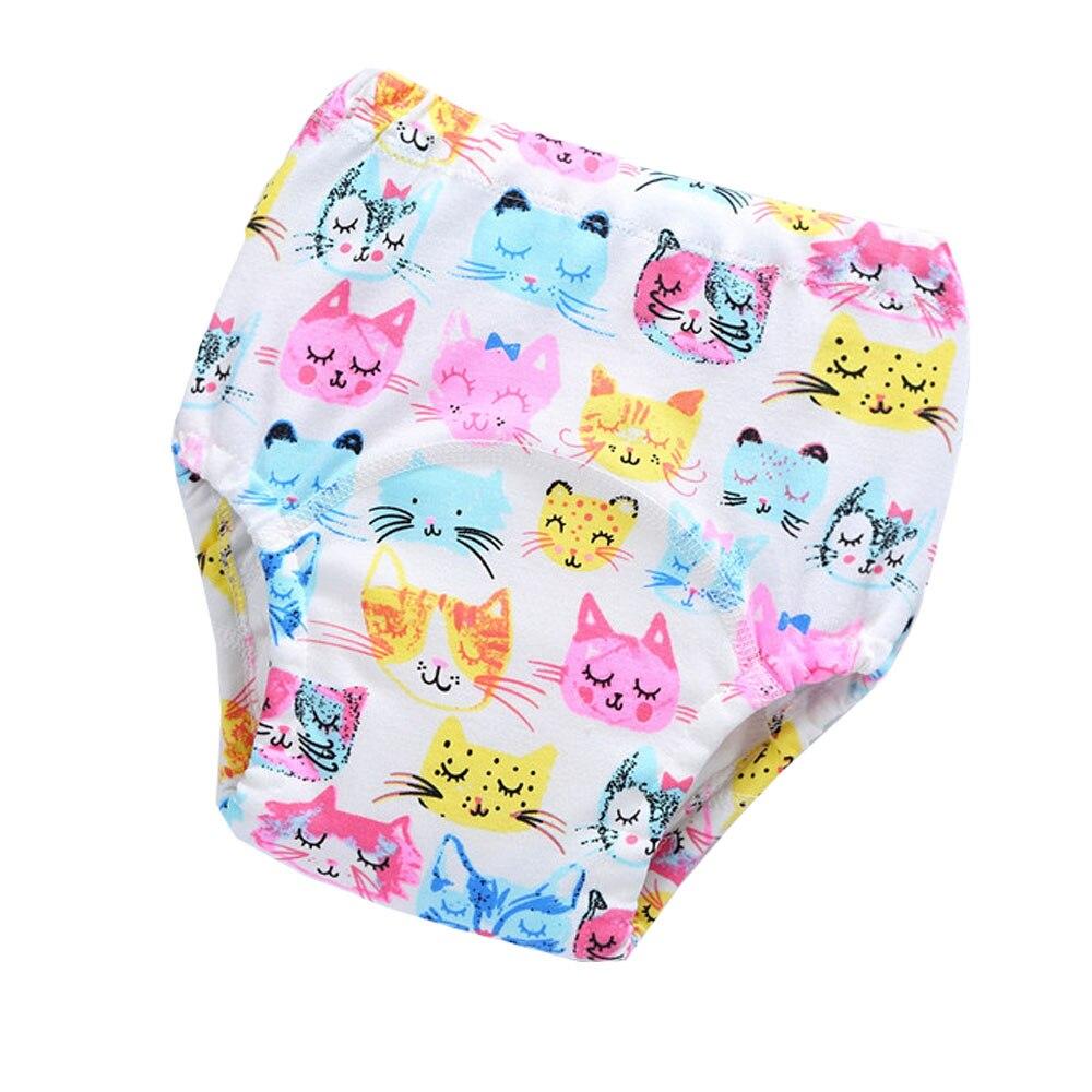Reusable Washable Baby Cloth Diaper Cartoon Print Panties Waterproof Training Pants Cotton 4Layers Baby Changing Nappies