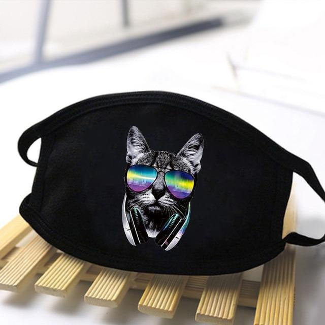 Unisex black Dustproof Masks Kawaii Cartoon Print Kpop Mouth Masks High Quality Black Casual Mask Mouth Muffle Face Mask Kpop