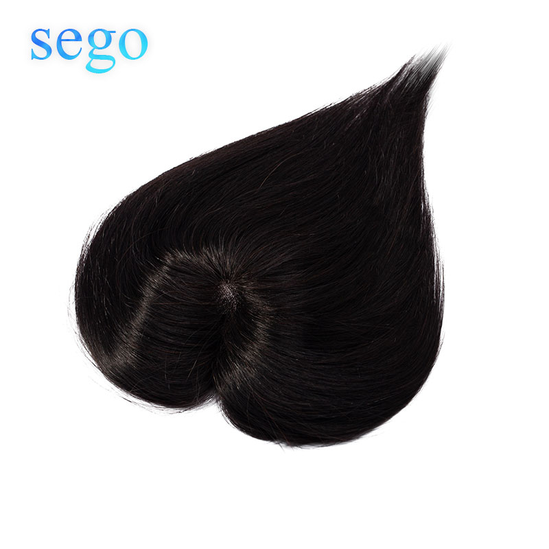 SEGO 6 Inches 10x10cm Fine Mono Straight 100% Real Human Hair Topper For Women 3 Clips In Pieces Non-Remy Hair Toupee 30g