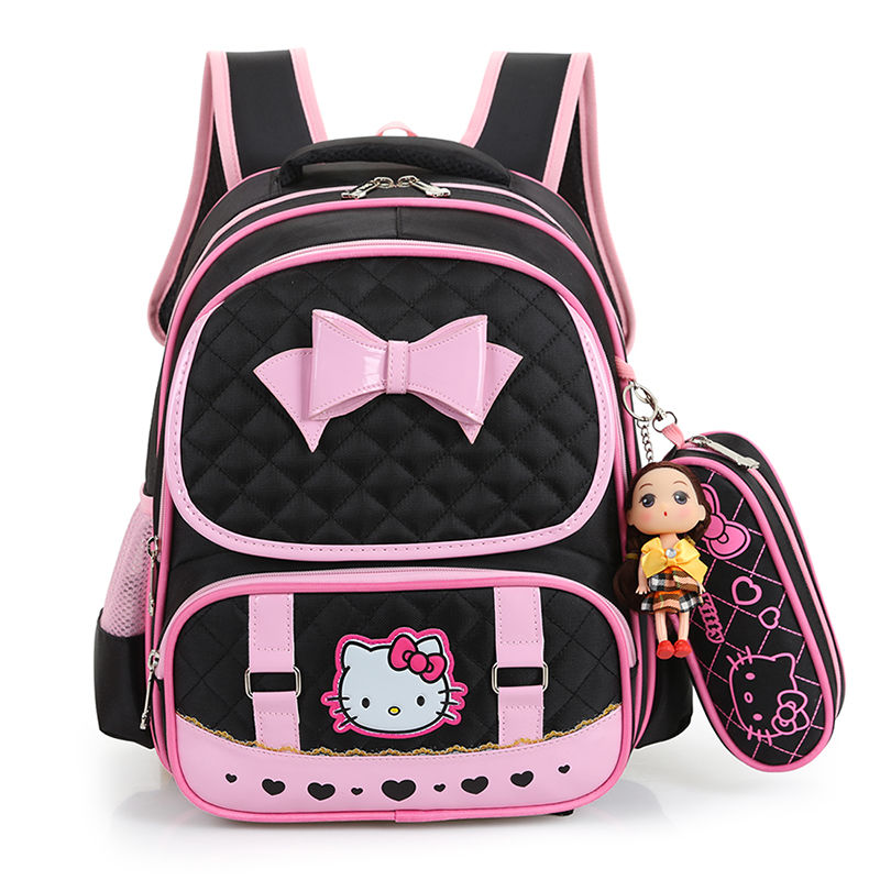 Pink Kids School Bags For Girls Primary School Orthopedic Backpack Child Schoolbag Girls Princess Bookbag Cute Cartoon Cat Large