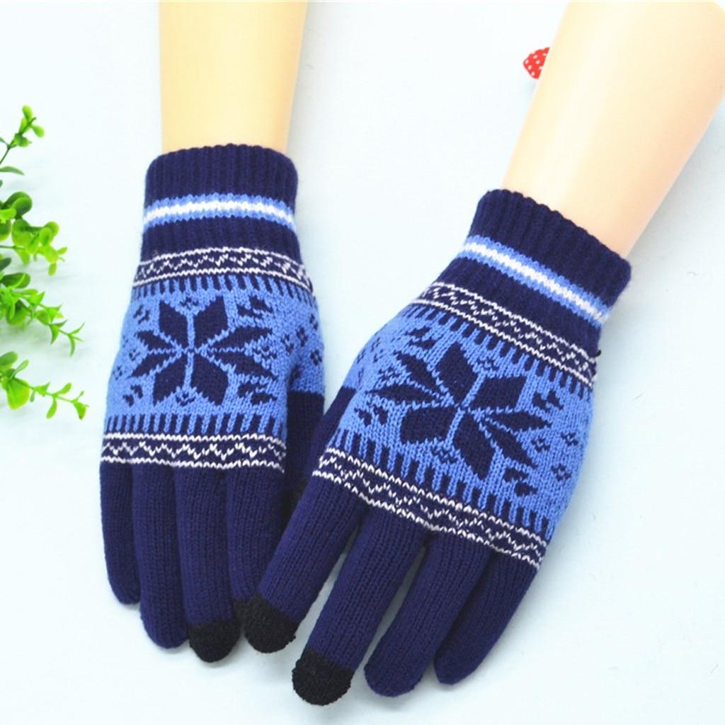 Snowflake Print Panelled Blue Retro Knit Wool Mittens For Women Girl Snowflake Winter Keep Warm Mittens Gloves  Handschoenen