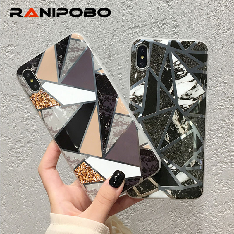 Shining Vintage Geometric Marble <font><b>Phone</b></font> <font><b>Case</b></font> For <font><b>iPhone</b></font> <font><b>XR</b></font> XS X XS Max 7 8 6 6S Plus Soft TPU <font><b>Glitter</b></font> Laser Marble Back Cover image