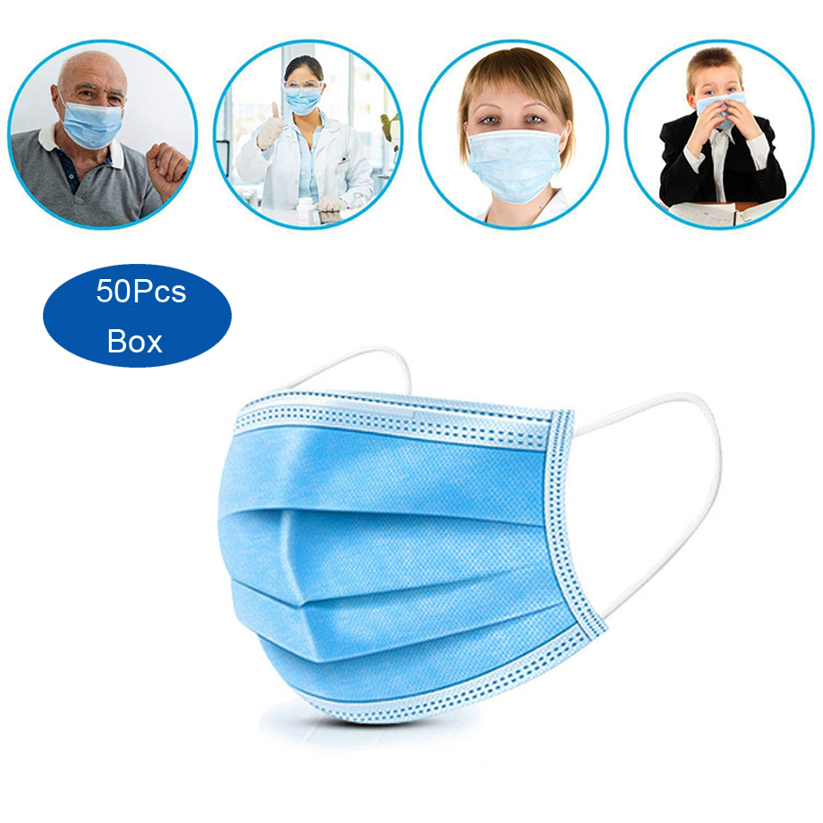 50 Pcs Disposable Mouth Face Mask 3 Layer Filter Masks Anti Dust Droplet Pollution Antivirus Protection Mask PM 2.5 Respirator