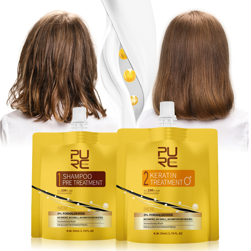 0% Fomalin Keratin Treatment And Purifying Shampoo Set For Hair Straightening Repair Damaged Frizzy Hair Care Keratin Treatment image