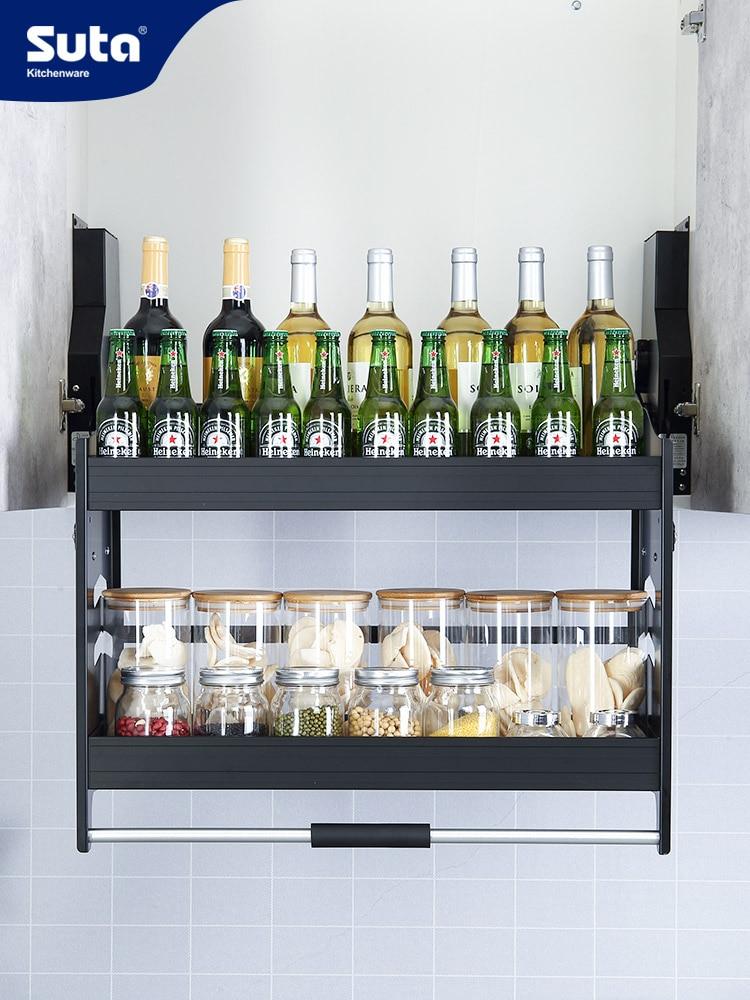Kitchen Cabinet Lift Basket Basket Cabinet Rack Multi-function Storage Double Damping Drop Basket