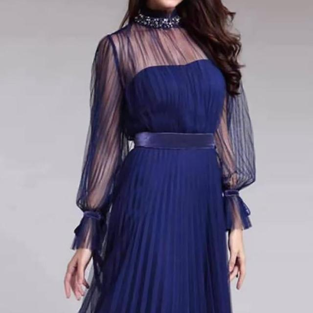 Spring and summer new blue temperament  dress female banquet annual meeting atmosphere long style dress 5
