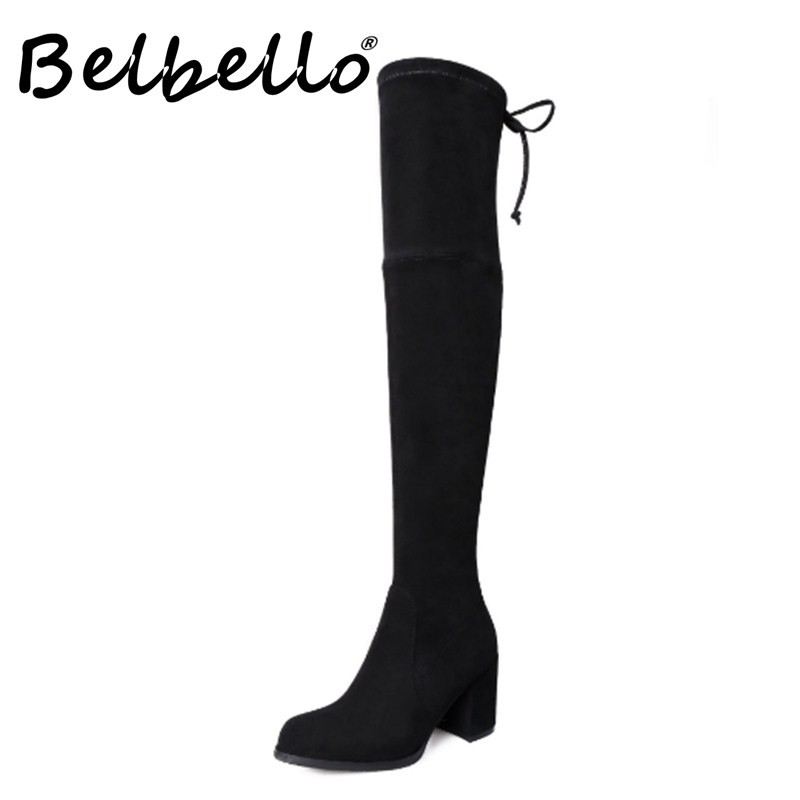 Belbello 2019 High heel lace-up elastic boot women's high boot thick heel skinny boot oversize leather knee-length boots