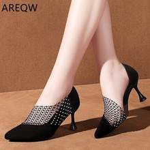 2020 Crystal Sexy Wedding Party Shoes for Women High Heels Sandals Pointed Suede Pumps Women Shoes Thin Heels Summer Shoes Woman cheap AREQW Flock Gladiator Covered 9697878 Slip-On Solid Cover Heel Rome Cotton Fabric Fashion Med (3cm-5cm) Fits true to size take your normal size