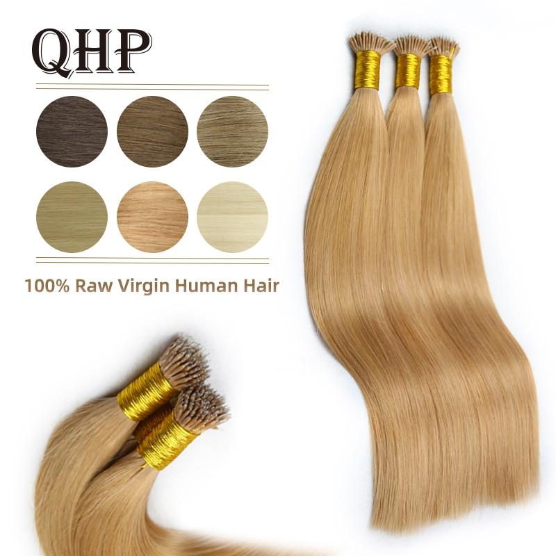 QHP Nano Ring Hair Extensions 100% Raw Virgin Human Hair Stick Pre Bonded Straight Hair 50pc 1g/pc