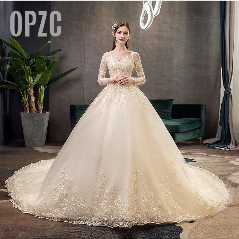 New Autumn champagne Long Sleeve Wedding Dresses Luxury Lace Embroidery Ball Gown  Appliques Celebrity vestido De Noiva Illusion