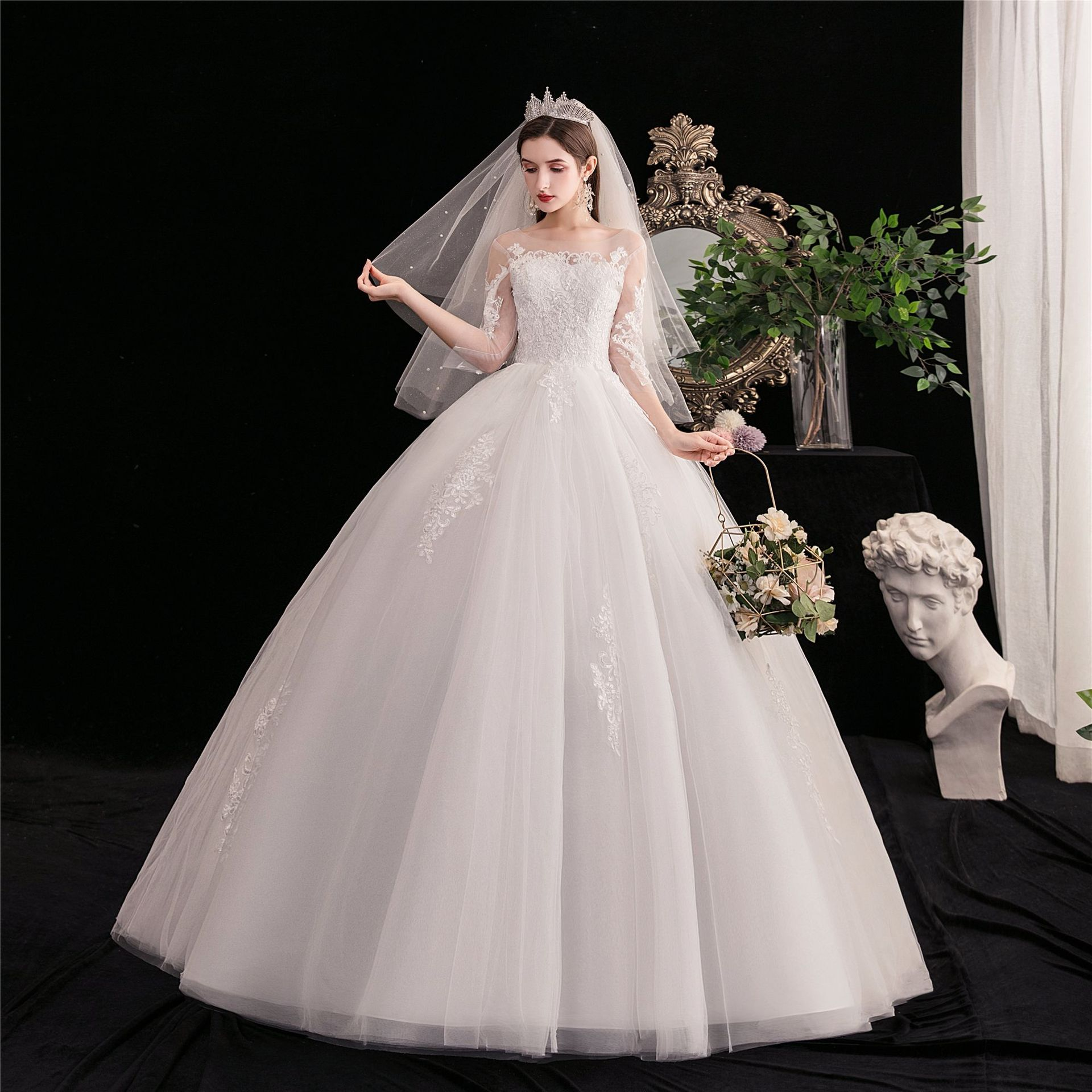 Do Dower New Arrival Sexy Illusion O Neck Three Quarter Wedding Dress Noble Lace Applique Simple Plus Size Princess Ball Gown L