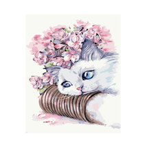 40 x 50cm Paint by Numbers Kit DIY Oil Painting Without Frame For Home Decoration Cute Cat(China)