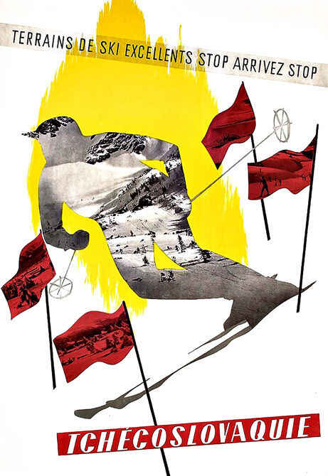 광고 체코 슬로바키아 체코 슬로바키아 겨울 스키 스키 벽 스티커 실크 포스터 아트 라이트 캔버스 홈 인테리어