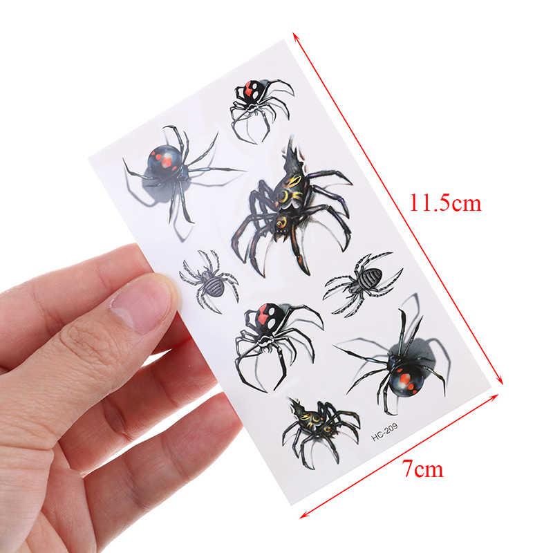 1Pcs מגניב איש עכביש עמיד למים זמני קעקוע מדבקת ליל כל הקדושים מציאותי דם צלקת פציעה עכביש ינשוף מזויף קעקוע מדבקה