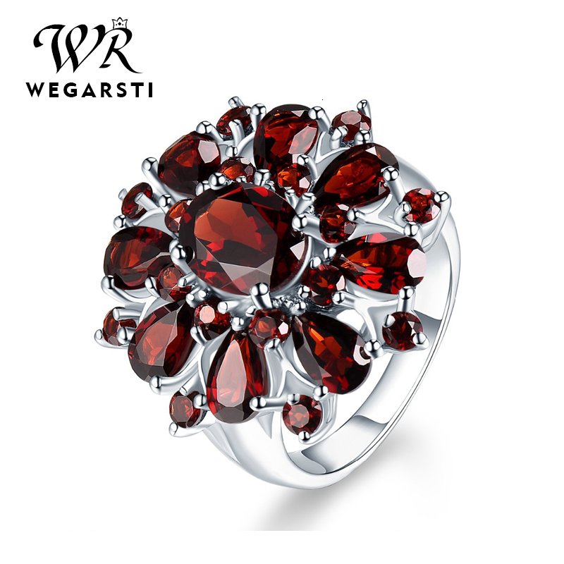 WEGARASTI Silver 925 Jewelry Rings Dark Red Ruby Gemstone Flower Shape Wedding Ring Silver 925 Jewelry Rings For Women Party