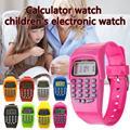 Детский калькулятор с функцией светодиодных часов  школьная Дата/время  модная детская цифровая силиконовая Спортивная забавная работа