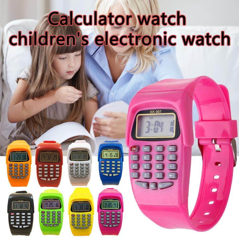 Kids Calculator With LED Watch Function School Date/Time Children's Fashion Digital Silicone Sports Work Fun