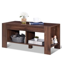 High Quality Simple Design 2 Tier Wood Coffee Table Sofa Durability MDF Side Table Spacious tabletop 2 lower shelves Shelf