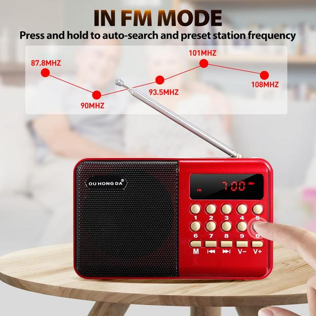 Mini Portable Radio Handheld Rechargeable Digital FM USB TF MP3 Player Speaker Devices Supplies 4