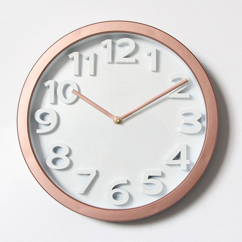 Stéréo grand avec chiffres horloge murale Simple cercle horloge muette Style nord européen ménage verre salon chambre mode