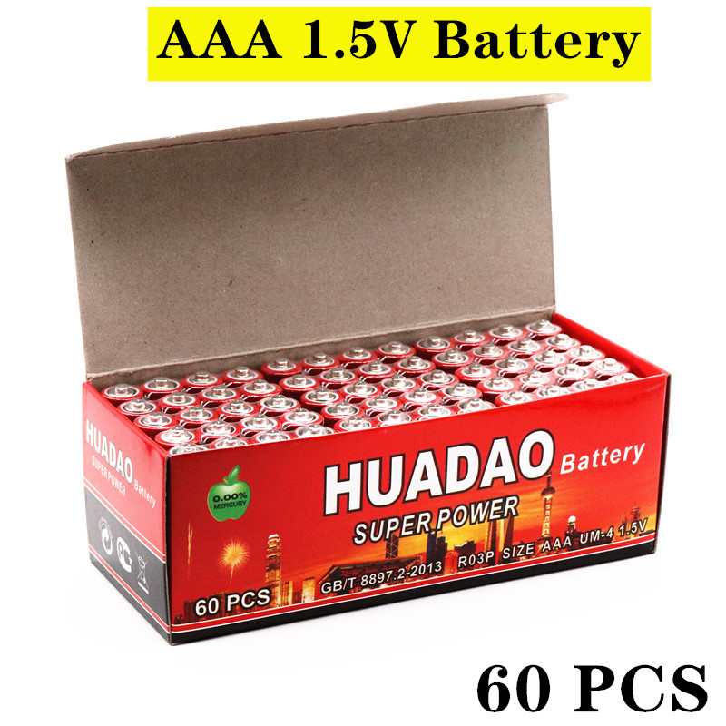 60 шт., 1,5 В AAA батарея, углеродная батарея aaa 1,5 в, батарея R03 R3C для камеры, калькулятора, будильника, пульта дистанционного управления UM4